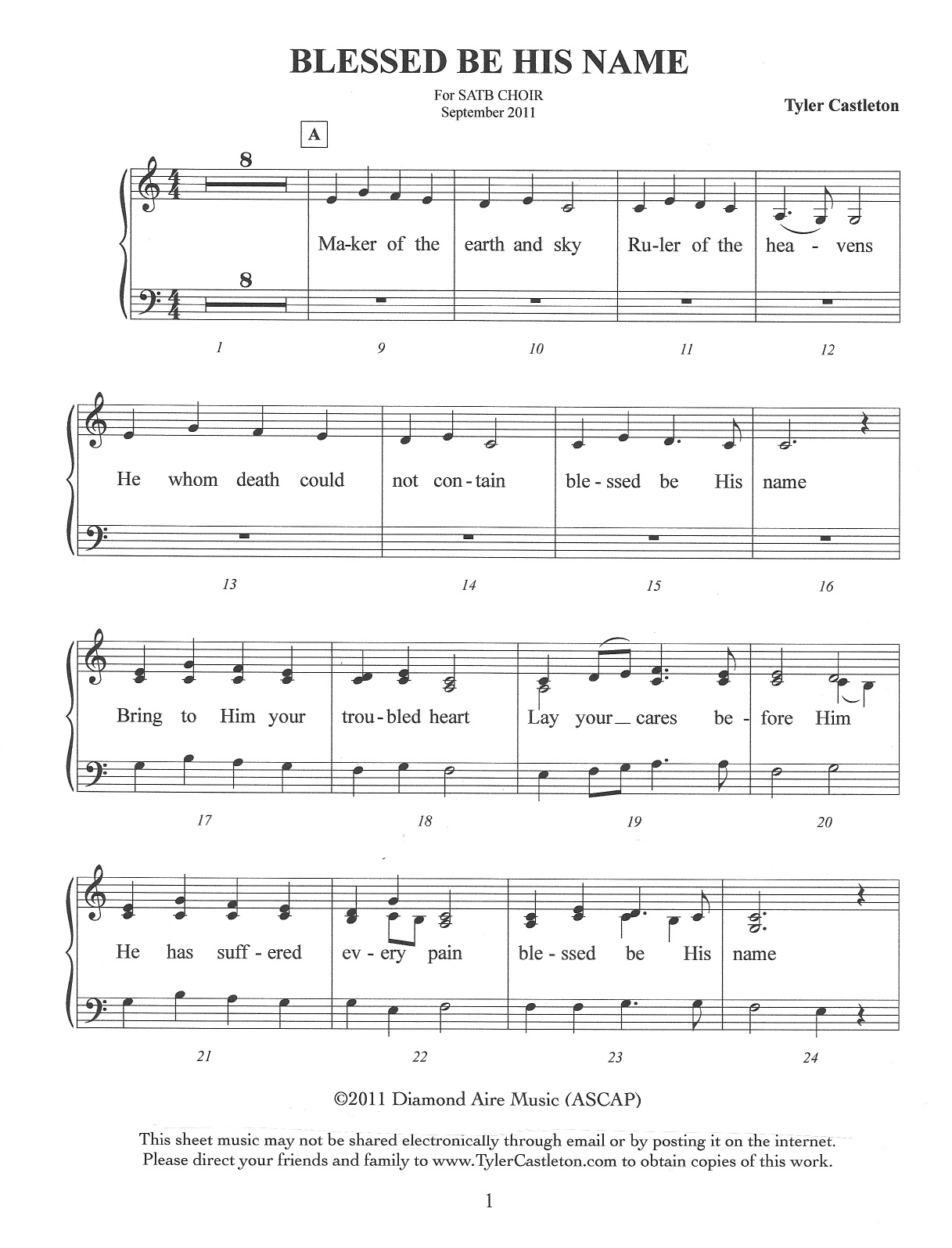 Tyler castleton sheet music blessed be his name choir version hexwebz Images