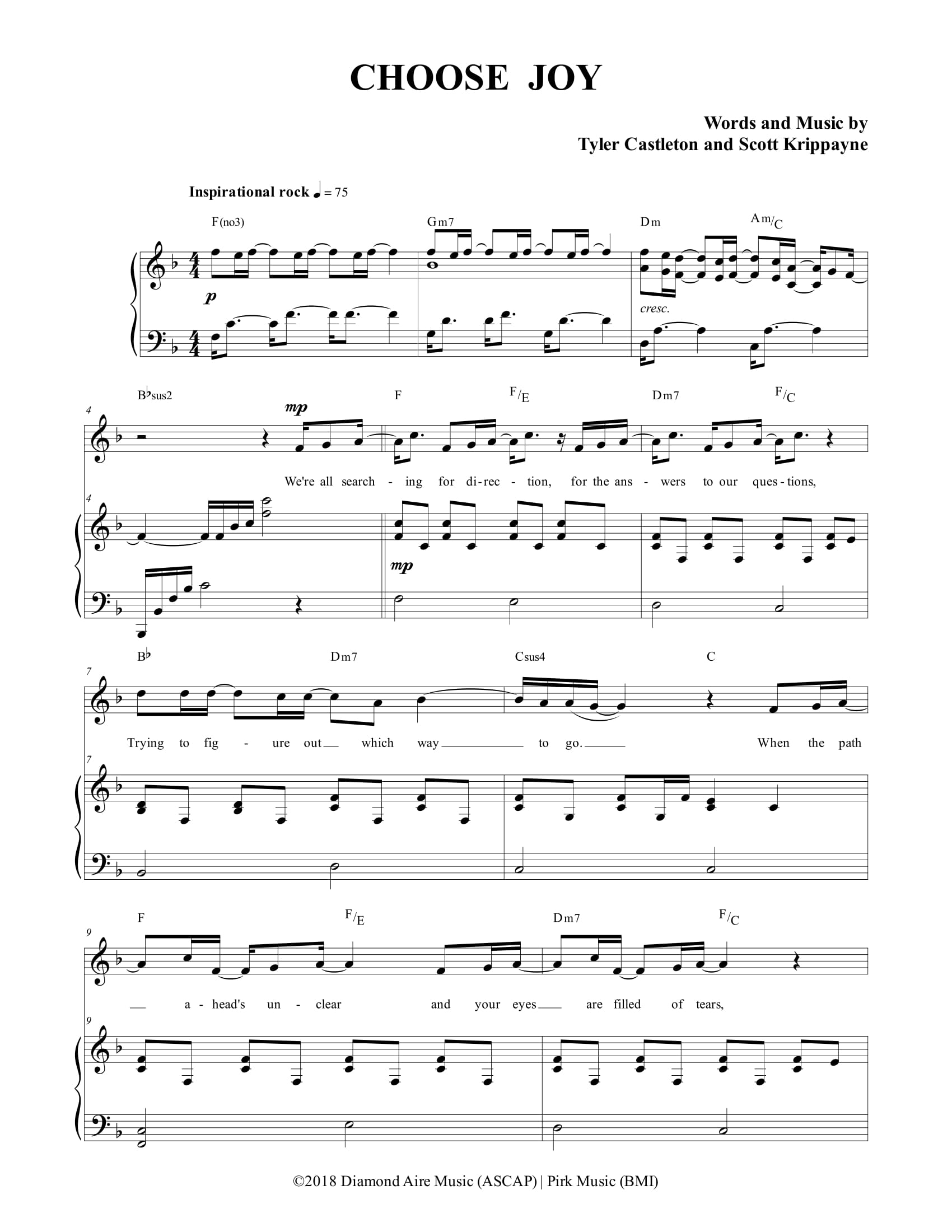 Tyler Castleton » Sheet Music